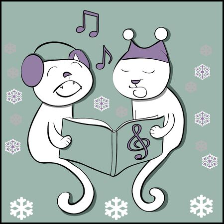 pompon: Singing cats with snowflakes cutout