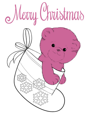 felt: Plush teddy bear in felt boot christmas card Illustration
