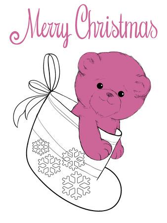 plush: Plush teddy bear in felt boot christmas card Illustration