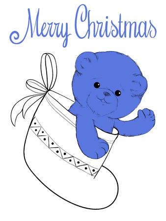 felt: Plush teddy bear in felt boot christmas card Illustration
