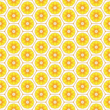 mead: Flowers in honeycomb background design seamless pattern