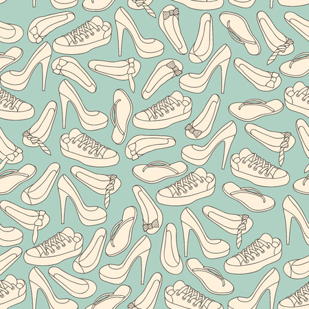 heelpiece: Footwear shoes seamless background texture Illustration