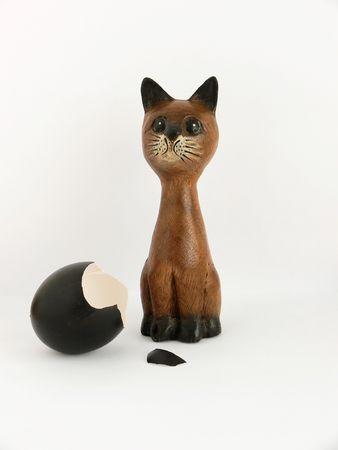 gaurd: Cat and a broken  egg Stock Photo