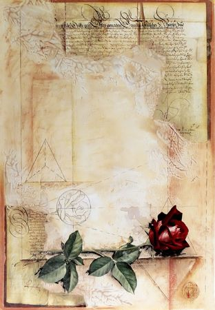 diary page: Old ancient parchment with red rose - paper texture background