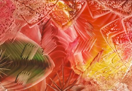 encaustic: Orange fantasy, picture of a molten wax painting(encaustic technique) Stock Photo