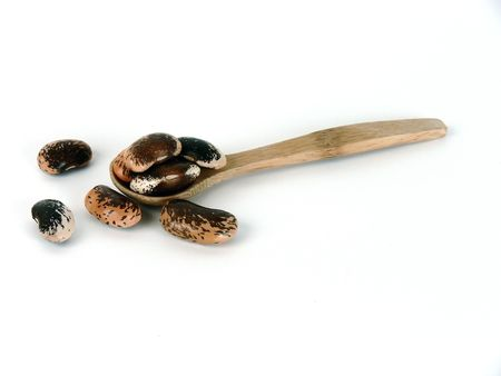 spoonful:  Wood spoonful of pinto beans