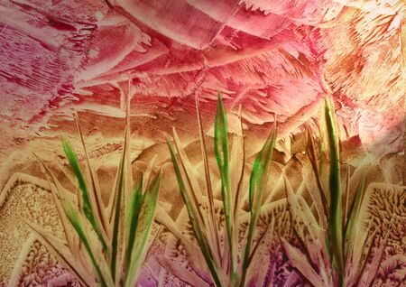 encaustic: Painted abstract - grass � molten wax