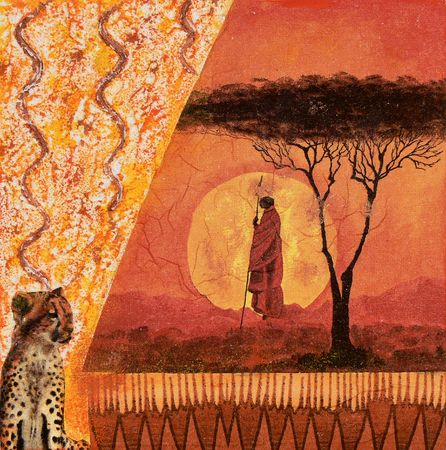 collage people: Collage african style on canvas