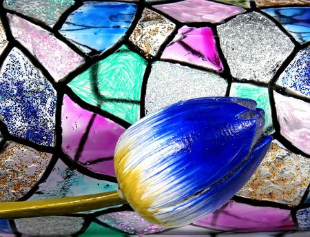 vitrage: Stained glass vitrage with tulip Stock Photo