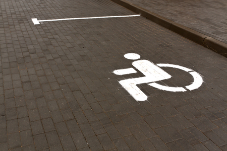 wheelchair access: Handicap parking slot. Signs and symbols. Stock Photo