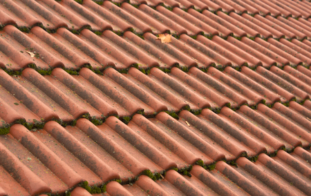 roof ridge: Old tile roof texture. Architectural background.