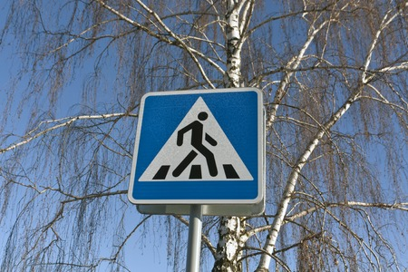 Metal pedestrian signand birch tree.. Road and signs.