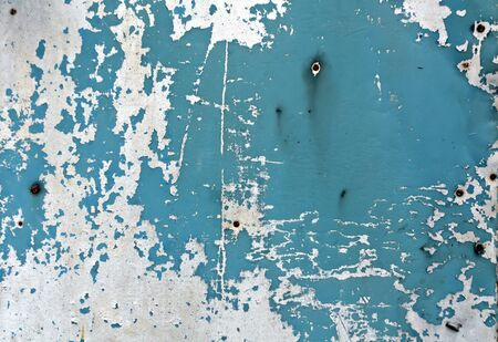 pitting: Blue rusty metal wall texture. Architectural background.