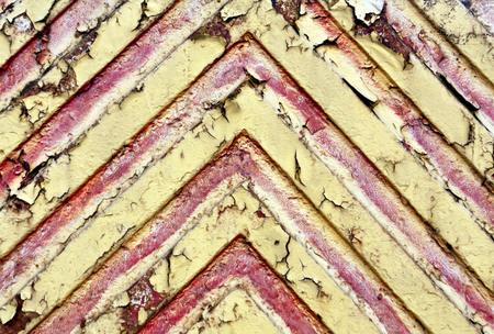 pitting: Red lines on yellow metal texture. Background and texture. Stock Photo