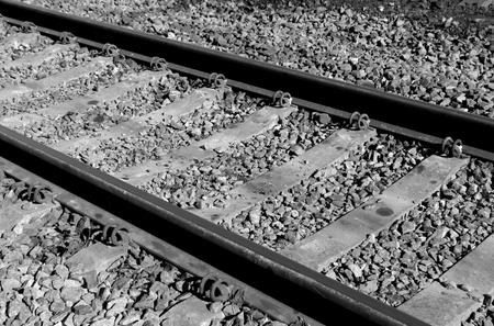 forwarding: Old railroad in black and white. Transport and freight forwarding background