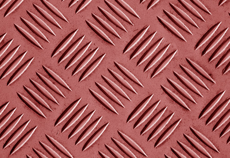 Red color metal floor pattern. Abstract background and texture for design. Stock Photo