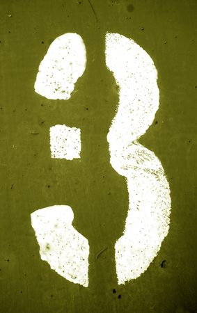 Number 3 in stencil on metal wall in yellow tone. Abstract background and texture for design. Reklamní fotografie