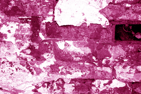 Old grungy brick wall texture in pink tone. Abstract architectural background and texture for design. Stockfoto