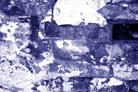 Old grungy brick wall texture in blue tone. Abstract architectural background and texture for design. Stockfoto - 123152645