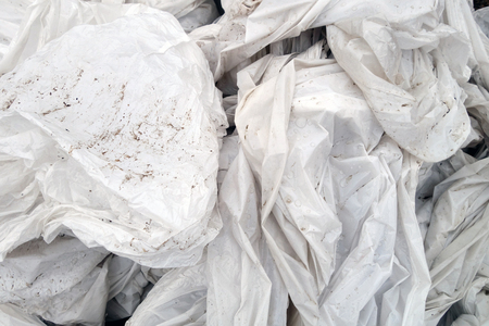 Dirty white crumpled pvc. Abstract background and texture for design.
