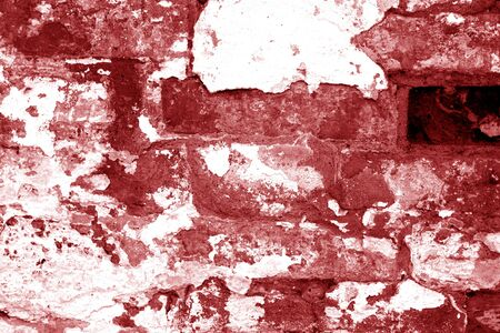 Old grungy brick wall texture in red tone. Abstract architectural background and texture for design. Stock Photo