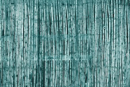 Weathered bamboo fence in cyan tone. Abstract background and texture for design. Stock Photo