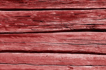Old wooden wall in red color. Abstract background and texture for design.