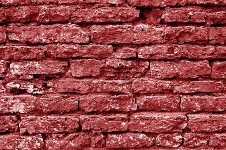 Old grungy brick wall texture in red tone. Abstract architectural background and texture for design. 写真素材