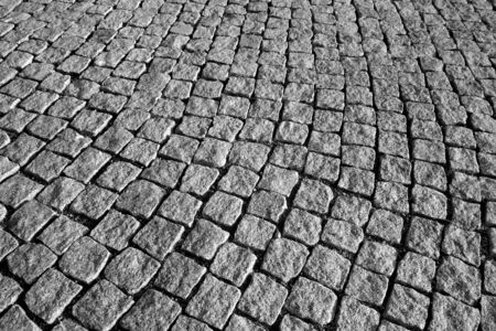 Stone pavement texture in black and white. Abstract background and texture for design. 写真素材