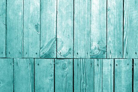 Old grungy wooden planks background in cyan tone. Abstract background and texture for design. Banco de Imagens