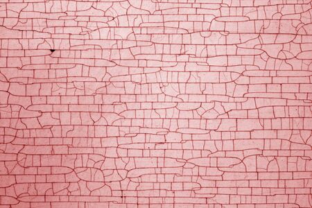 Cracks on metal texture in red tone. Abstract background and texture for design. Standard-Bild - 134736837