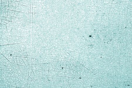 Cracks on metal texture in cyan tone. Abstract background and texture for design. Stock Photo