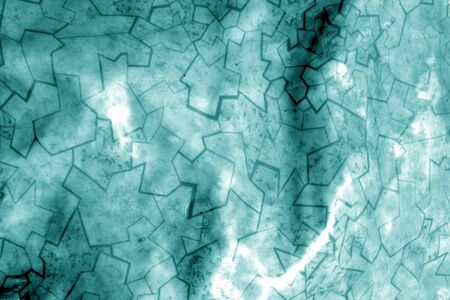 Old linoleum with pattern with blur effect in cyan tone. Abstract background and pattern for designers. Archivio Fotografico