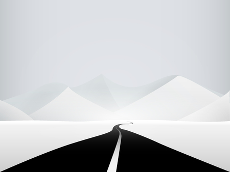 wilderness: Road to the mountains on snow-covered wilderness Illustration
