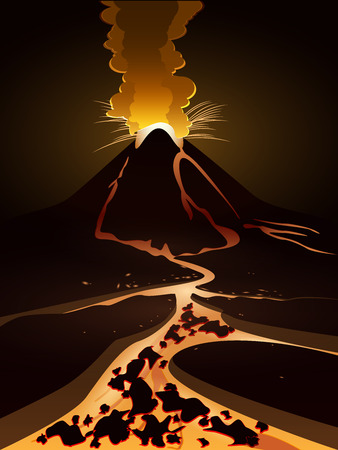 eruption: volcanic eruption and lava flows hot Illustration