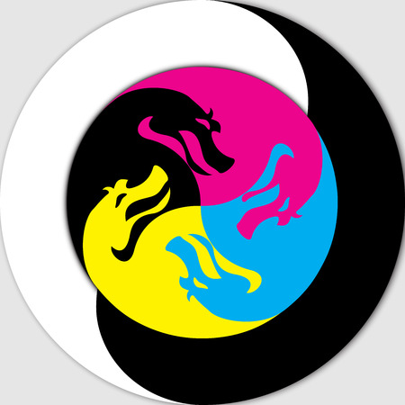 Chinese Yin Yang symbol , depicted in the form of dragons CMYK Vector