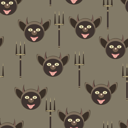 Seamless pattern with funny faces devil and tridents Vector