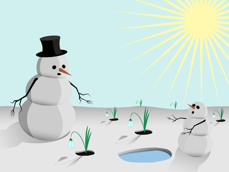 springtime: The family of snowmen frightened by the arrival of spring Illustration