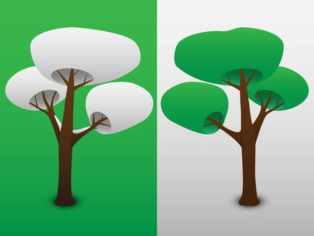 opposed: Two trees, as opposed to seasons Illustration