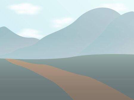 landscape with a road and mountains Vector