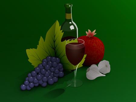 Stilleben: Wein und Obst