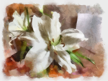 white lily: Watercolor. The white Lily flower, still life. A sheet of paper on the wall.