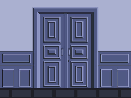 hallway: Framed door in the hallway in blue tones. Illustration