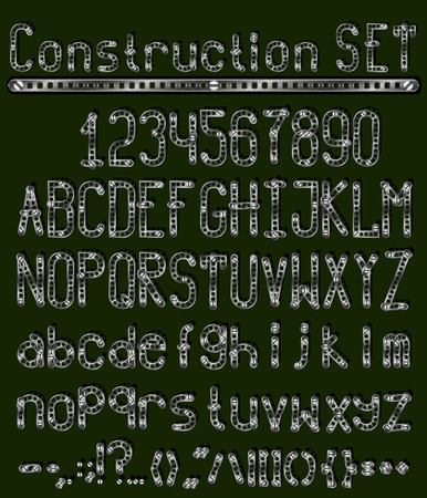 luster: Font constructor set details with a metallic luster