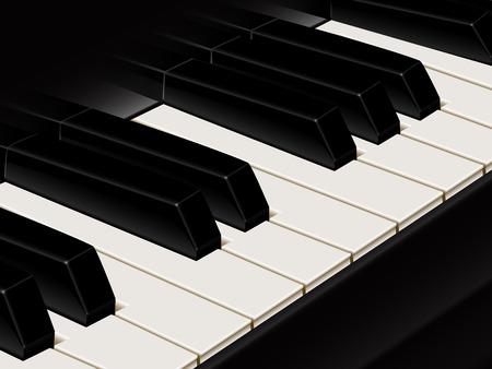 ebony: Piano keys close up, octave