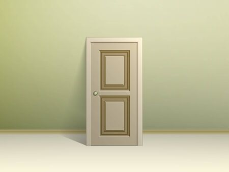 green walls: Beige paneled door leaning against the wall for display in a room with green walls