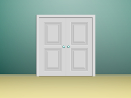 panelled: double white panelled doors in a room with turquoise walls Illustration