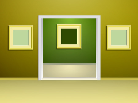 doorway: two rooms of the gallery with yellow and green walls and rectangular arched doorway between them Illustration