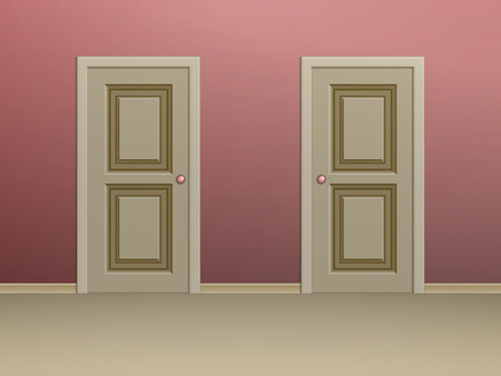 plinth: Two beige paneled doors in a room with red walls Illustration