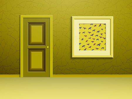 A painting depicting flying birds, yellow plastered on the wall next to the door Фото со стока - 49596061
